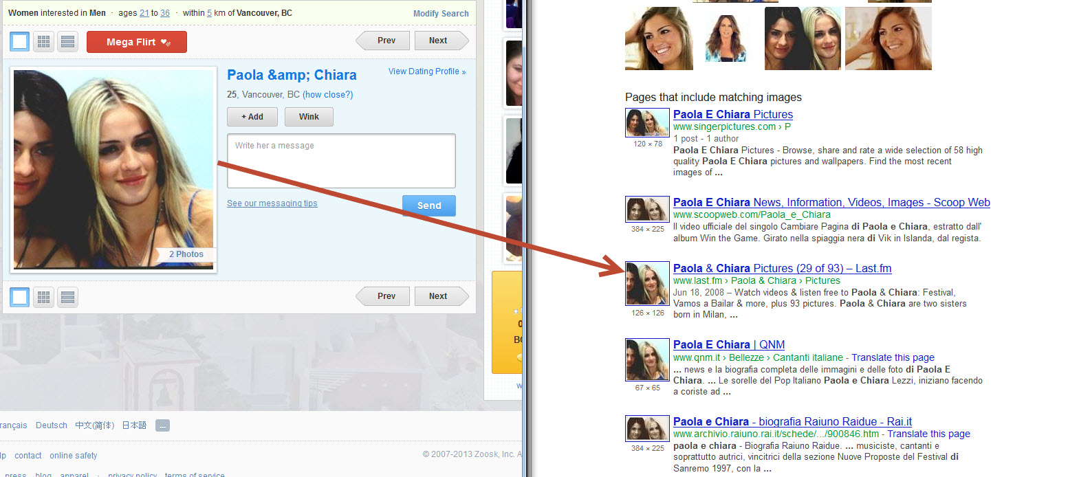 search zoosk profiles by name